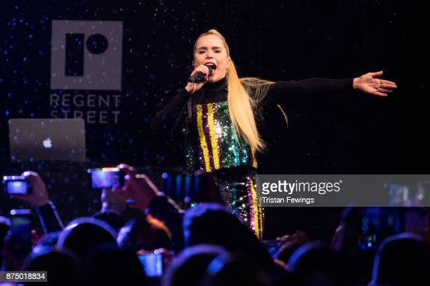 Paloma Faith performs on stage during the Regent Street Christmas lights switch on at Regent Street on November 16 2017 in London England
