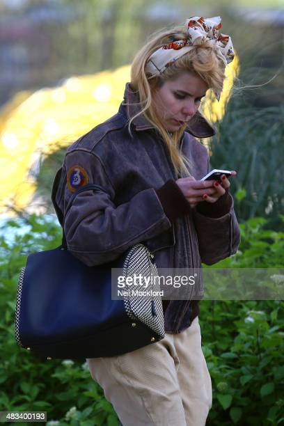 Paloma Faith seen on her phone whilst walking through Notting Hill on April 8 2014 in London England
