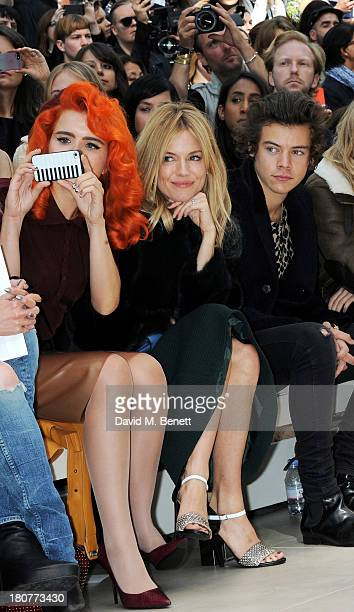 Paloma Faith Sienna Miller and Harry Styles attend the front row at Burberry Prorsum Womenswear Spring/Summer 2014 show during London Fashion Week at...