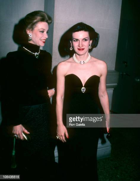Paloma Picasso and guest during Diana Vreeland's Annual Costume Exhibit 'Man and the Horse' December 3 1984 at Metropolitan Museum of Art in New York...
