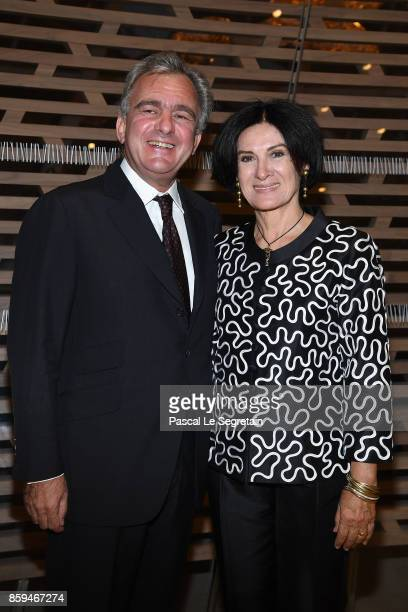 Paloma Picasso and husband Eric Thevenet attend 'Etre Moderne Le MoMA A Paris' Exhibition at Fondation Louis Vuitton on October 9 2017 in Paris France