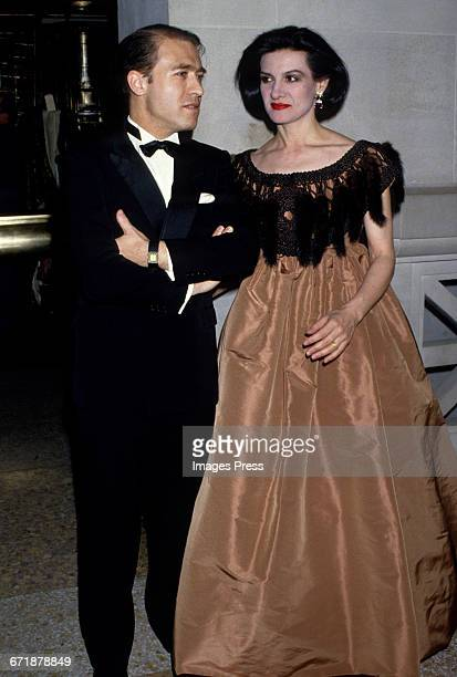 Paloma Picasso and husband Rafael LopezSanchez attend the Annual Costume Institute Exhibition Gala at the Metropolitan Museum of Art circa 1986 in...