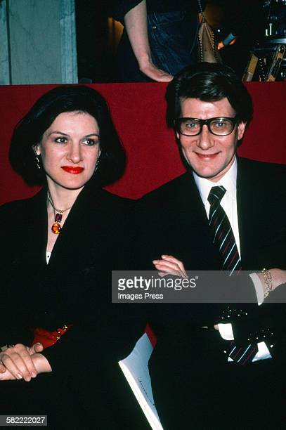 Paloma Picasso and Yves St Laurent circa 1983 in Paris France