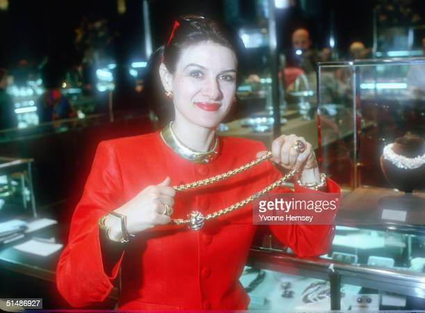Paloma Picasso introduces her jewelry collection December 1 1980 at Tiffany Co in New York City