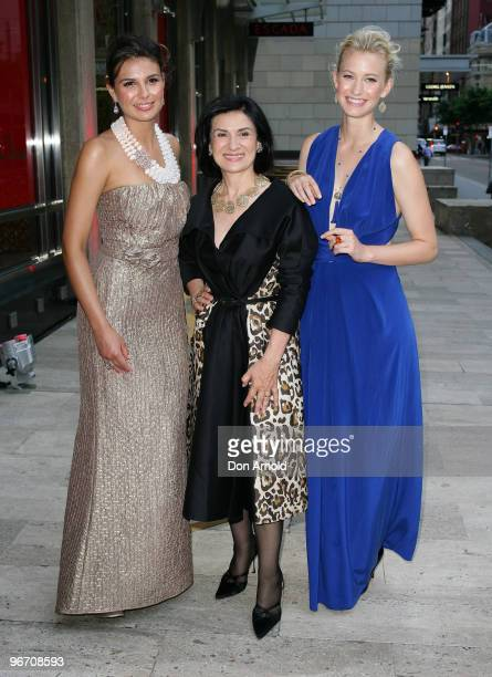Paloma Picasso stands between models at the Paloma Picasso Sydney Instore cocktail event at Tiffany Co Castlereagh Street on February 15 2010 in...