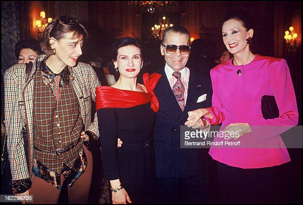 Paloma Picasso surrounded by Ines de la Fressange Karl Lagerfeld and Viscountess de Ribes for the launching of her perfume