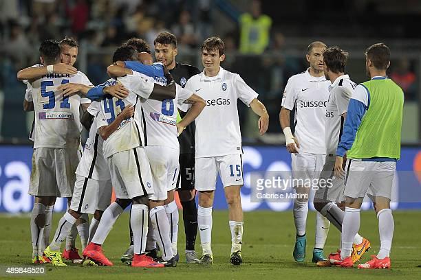 Palyers of Atalanta BC celebrates the victory after during the Serie A match between Empoli FC and Atalanta BC at Stadio Carlo Castellani on...