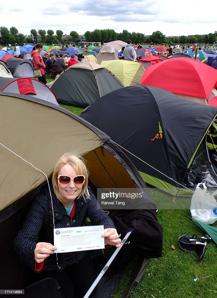 Pam Barnes from Liverpool who has queued from Saturday teatime to secure the first position in the queue for tickets for Wimbledon tennis championships on June 23, 2013 in London, England.