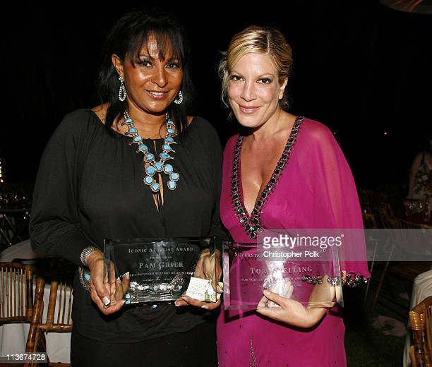 Pam Grier and Tori Spelling during Bow Wow Ciao Benefit For 'Much Love' Animal Rescue Red Carpet and Inside at John Paul DeJoria and Eloise DeJoria...