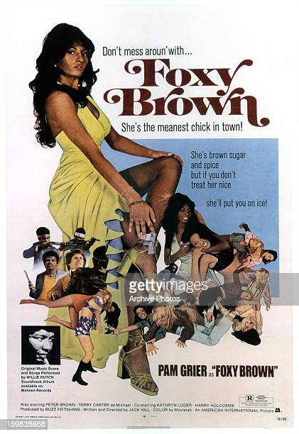 Pam Grier in movie art for the film 'Foxy Brown' 1974