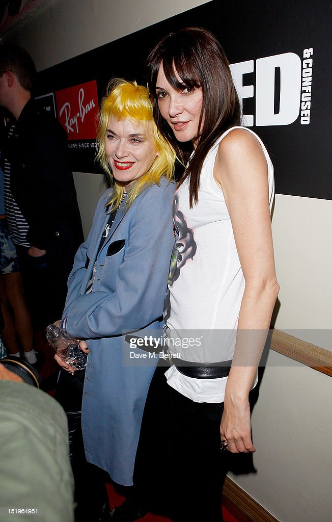 Pam Hogg (L) and Annabelle Neilson attend as Dazed & Confused presents Ray-Ban's 75th Anniversary celebration with Primal Scream and Kim Gordon of Sonic Youth at the Islington Assembly Hall on September 13, 2012 in London, England.