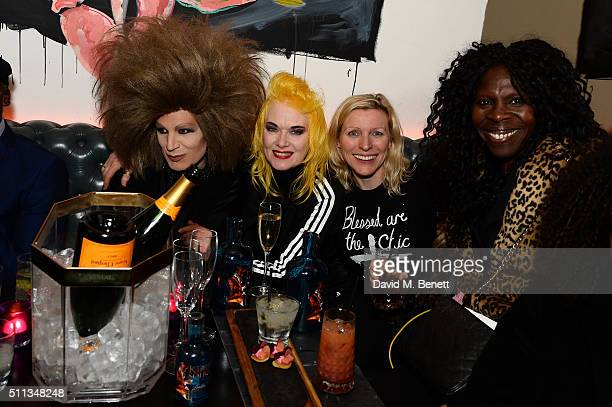 Pam Hogg and Guests attend a party following the Pam Hogg show at Fashion Scout during London Fashion Week Autumn/Winter 2016/17 at Bonbonniere on...