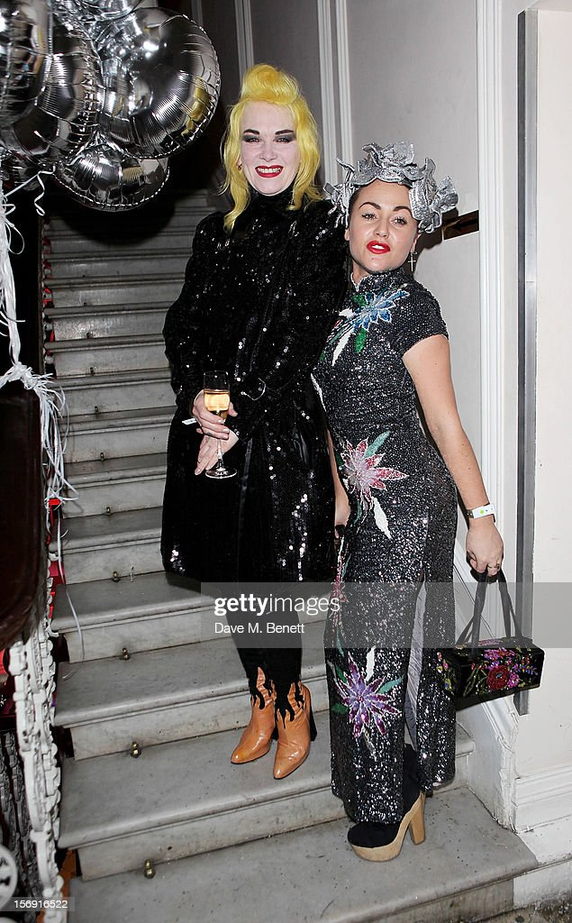 Pam Hogg (L) and <a gi-track='captionPersonalityLinkClicked' href=/galleries/search?phrase=Jaime+Winstone&family=editorial&specificpeople=834918 ng-click='$event.stopPropagation()'>Jaime Winstone</a> attend the Cuckoo Club and Show Pony pop up club, celebrating Cuckoo's 7th birthday, at 6 Grosvenor Place on November 24, 2012 in London, England.