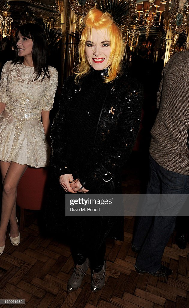 Pam Hogg attends the AnOther Magazine and Dazed & Confused party with Belvedere Vodka at the Cafe Royal hotel on February 18, 2013 in London, England.