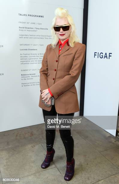Pam Hogg attends the Fashion Illustration Gallery Art Fair private view at The Shop at Bluebird cohosted b Lucinda Chambers and Wendy Yu on June 29...