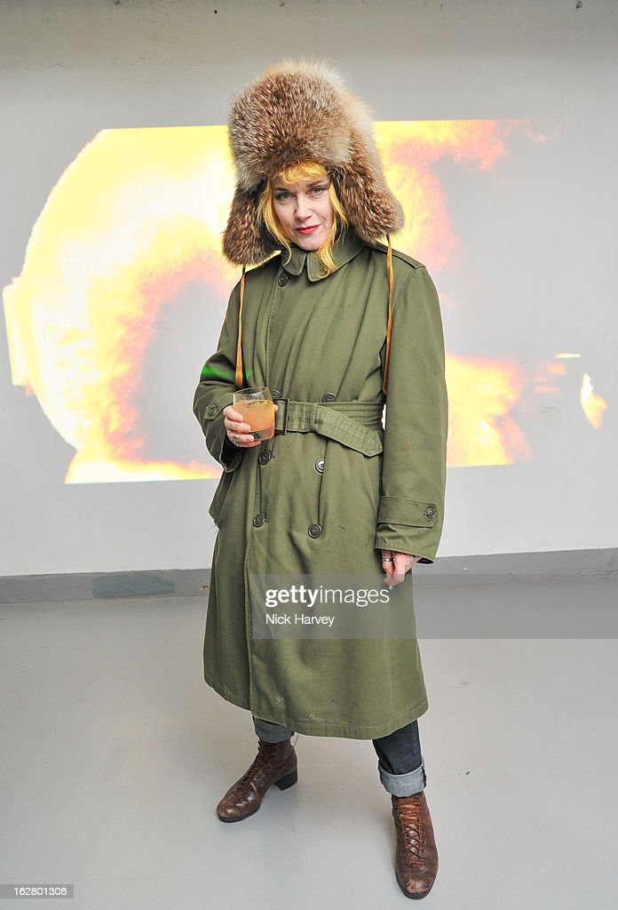 <a gi-track='captionPersonalityLinkClicked' href=/galleries/search?phrase=Pam+Hogg+-+Fashion+Designer&family=editorial&specificpeople=235389 ng-click='$event.stopPropagation()'>Pam Hogg</a> attends the launch of Dinos Chapman's album 'Luftbobler' at The Vinyl Factory Gallery on February 27, 2013 in London, England.