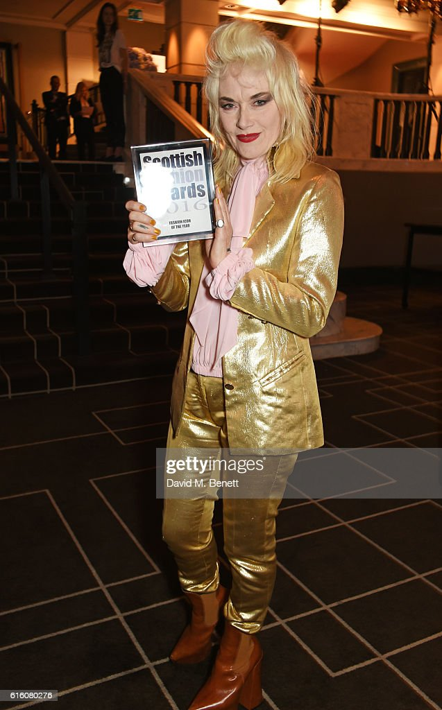 Pam Hogg, winner of the Fashion Icon of the Year award, attends the Scottish Fashion Awards in association with Maserati at Rosewood Hotel on October 21, 2016 in London, England.