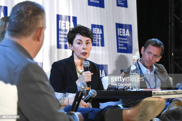 Pam Matthews and Tim Epstein speak onstage at the Terms Conditions Power Panel during the IEBA 2017 Conference on October 16 2017 in Nashville...