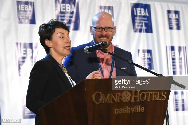 Pam Matthews and Tim Gray speak onstage on the Agents Power Panel during the IEBA 2017 Conference on October 16 2017 in Nashville Tennessee