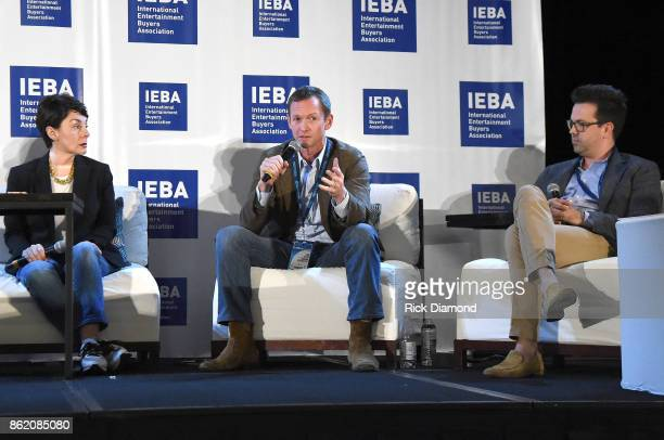Pam Matthews Tim Epstein and Brent Daughrity speak onstage at the Terms Conditions Power Panel during the IEBA 2017 Conference on October 16 2017 in...
