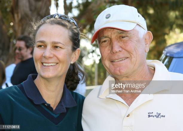 Pam Shriver and George Lazenby during The Bryan Brothers Rackets Stars Guitars December 3 2006 at Palisades Tennis Center in Pacific Palisades...