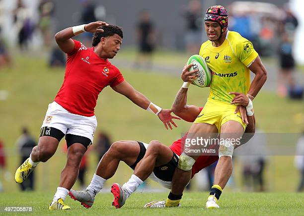 Pama Fou of Austraila in action during the World Sevens Oceania Olympic Qualification Final between Australia and Tonga on November 15 2015 in...