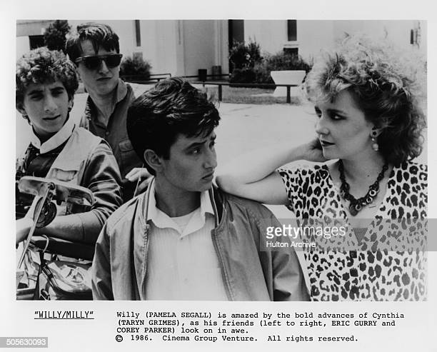Pamela Adlon is surprised by the advances by Taryn Grimes in a scene from the movie 'Willy/Milly' circa 1986