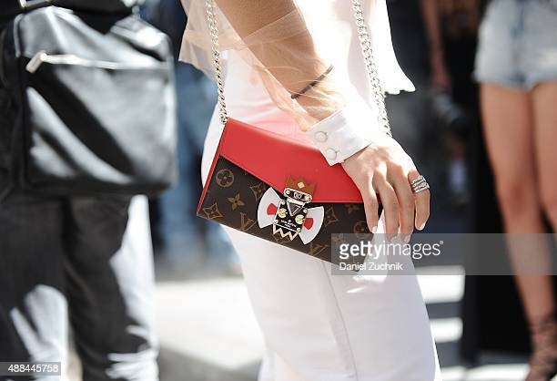 Pamela Allier is seen outside the Diesel Black Gold show with a Louis Vuitton bag during New York Fashion Week 2016 on September 15 2015 in New York...