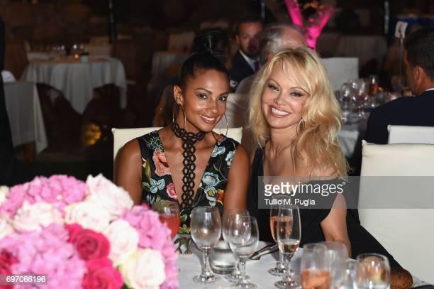 Pamela Anderson and Alesha Dixon attend The Costa Smeralda Invitational Gala Dinner at Cala di Volpe Hotel Costa Smeralda on June 17 2017 in Olbia...