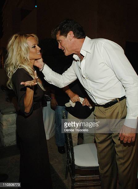 Pamela Anderson and David Hasselhoff during Hans Klok's The Beauty of Magic Featuring Pamela Anderson Opeing Night After Party at Planet Hollywood...