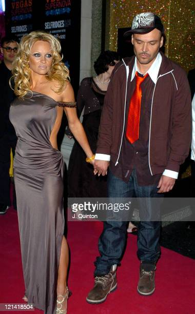 Pamela Anderson and David LaChapelle during Vegas Supernova Selfridges Launch Party at Selfridges in London Great Britain