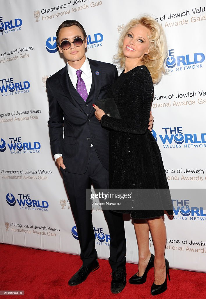 Pamela Anderson and her son Brandon Thomas Lee attend the 4th Annual Champions Of Jewish Values International Awards Gala at Marriott Marquis Broadway Ballroom on May 5, 2016 in New York City.