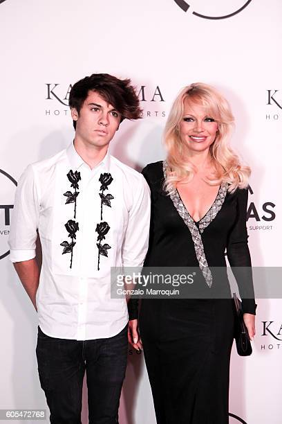 Pamela Anderson and her son Dylan Jagger Lee at the Unitas Hosts Second Annual Gala Against Human Trafficking at Capitale on September 13 2016 in New...