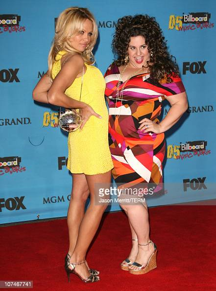 Pamela Anderson and Marissa Jaret Winokur during 2005 Billboard Music Awards Arrivals at MGM Grand in Las Vegas Nevada United States