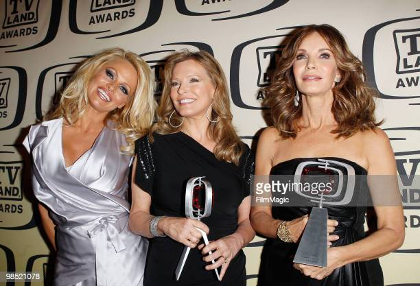 Pamela Anderson and Pop Culture award recipients for 'Charlie's Angels' Cheryl Ladd and Jaclyn Smith pose backstage at the 8th Annual TV Land Awards...
