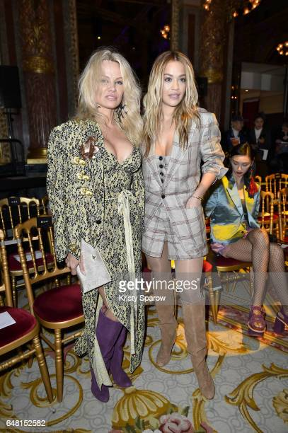 Pamela Anderson and Rita Ora attend the Vivienne Westwood show as part of Paris Fashion Week Womenswear Fall/Winter 2017/2018 on March 4 2017 in...