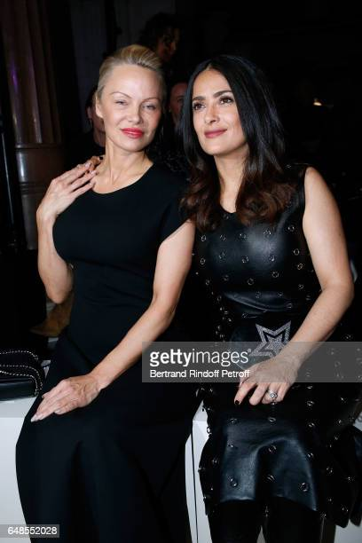 Pamela Anderson and Salma Hayek attend the Stella McCartney show as part of the Paris Fashion Week Womenswear Fall/Winter 2017/2018 on March 6 2017...