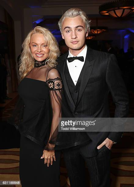 Pamela Anderson and son Brandon Thomas Lee attend the 6th Annual Sean Penn Friends HAITI RISING Gala Benefiting J/P Haitian Relief Organization at...