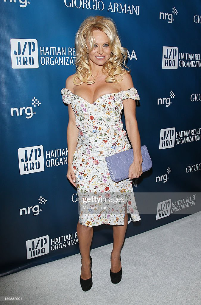 Pamela Anderson arrives at the 2nd Annual Sean Penn & Friends 'Help Haiti Home' held at Montage Hotel on January 12, 2013 in Los Angeles, California.