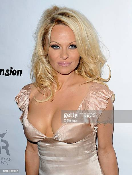 Pamela Anderson arrives at the Fame At The Mansion GRAMMY Party at The Playboy Mansion on February 12 2012 in Beverly Hills California