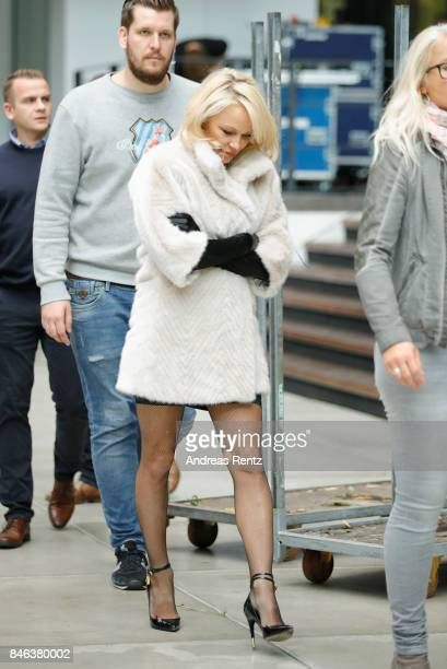 Pamela Anderson arrives for a photocall for the show 'House of Mystery' by Illusionist Hans Klok on September 13 2017 in Cologne Germany
