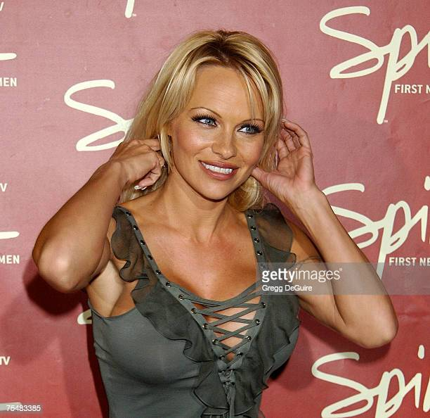 Pamela Anderson at the Playboy Mansion in Los Angeles California