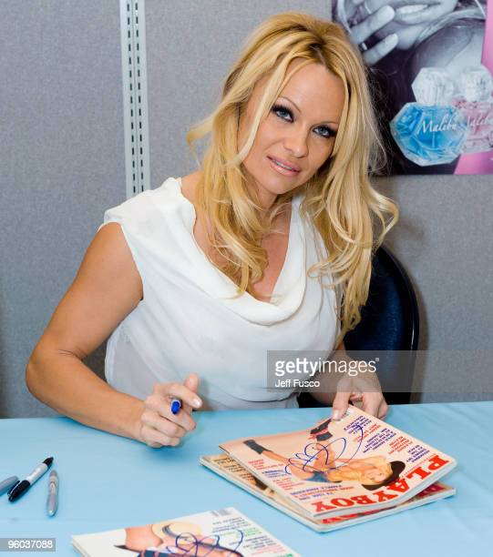 Pamela Anderson attends a launch event at a Rite Aid drugstore of her 'Malibu By Pamela Anderson' perfume line on January 23 2010 in Narberth...