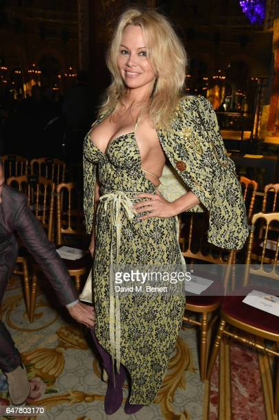 Pamela Anderson attends Andreas Kronthaler for Vivienne Westwood show as part of the Paris Fashion Week Womenswear Fall/Winter 2017/2018 on...
