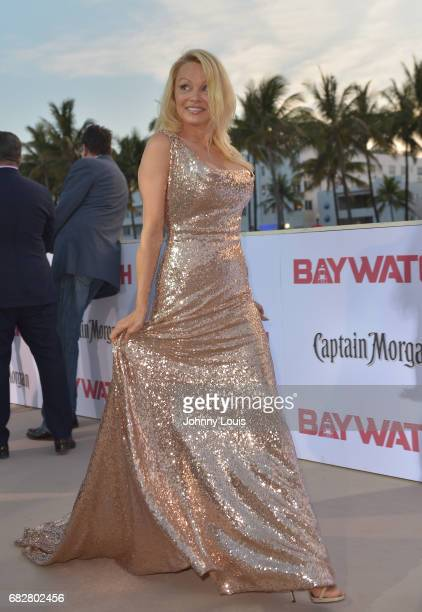 Pamela Anderson attends Paramount Pictures' World Premiere of 'Baywatch' on May 13 2017 in Miami Beach Florida