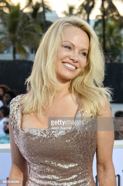 Pamela Anderson attends Paramount Pictures' World Premiere of 'Baywatch'on May 13 2017 in Miami Florida