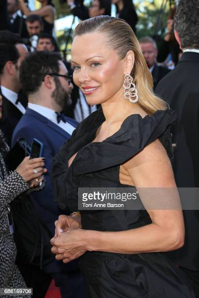 Pamela Anderson attends the '120 Battements Par Minutes ' screening during the 70th annual Cannes Film Festival at Palais des Festivals on May 20...