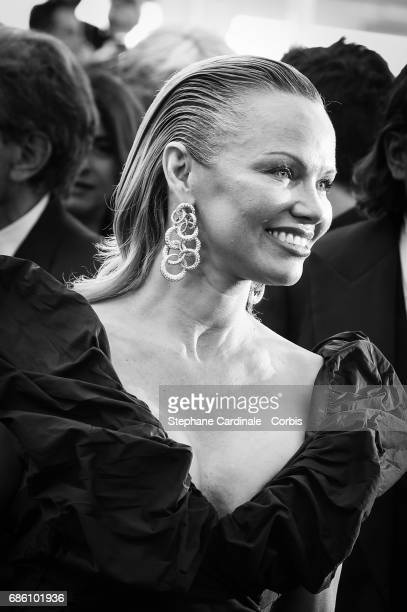 Pamela Anderson attends the '120 Beats Per Minute ' premiere during the 70th annual Cannes Film Festival at Palais des Festivals on May 20 2017 in...