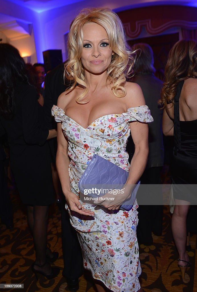 Pamela Anderson attends the 2nd Annual Sean Penn and Friends Help Haiti Home Gala benefiting J/P HRO presented by Giorgio Armani at Montage Hotel on January 12, 2013 in Los Angeles, California.