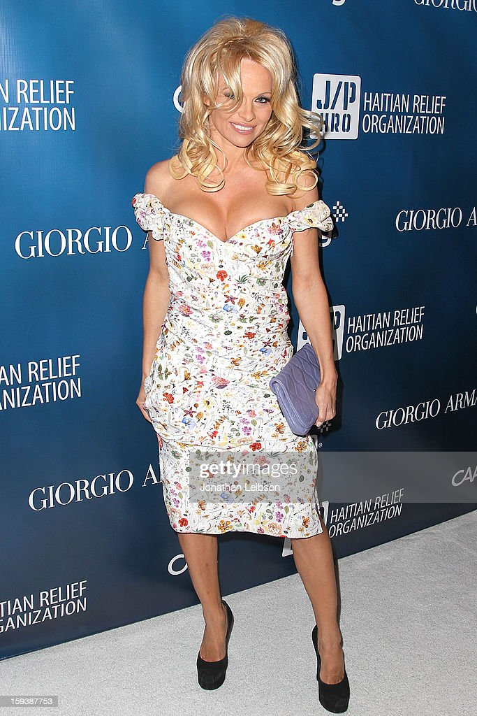 Pamela Anderson attends the 2nd Annual Sean Penn & Friends Help Haiti Home Presented By Giorgio Armani - A Gala To Benefit J/P HRO - Arrivals at Montage Beverly Hills on January 12, 2013 in Beverly Hills, California.